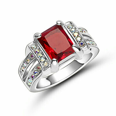 Womens Mens Size 6 Square Cut Red Garnet 18K White Gold Filled Engagement Ring