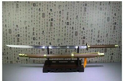 Miao Dao Two Handed Long Sword Chinese Sabre Tang Damascus Steel Battle Ready