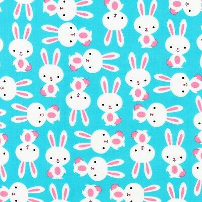 Easter Bunny Rabbit Stripe Multicolor Cotton Fabric HG/&Co Hop To It By The Yard