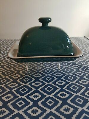 DENBY GREENWICH GREEN BUTTER DISH AND BASE - GREAT CONDITION Free P&P