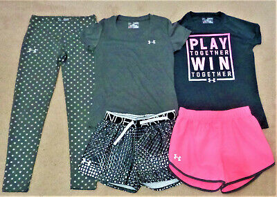 EUC UNDER ARMOUR HEAT GEAR Youth Girl 5 Piece Shirts/Shorts/Legging Lot Size YMD