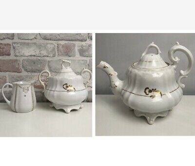 Vintage White & Gold Teapot, Large Sugar Bowl with Lid & Small Milk Jug