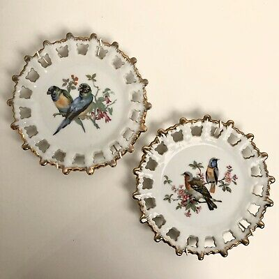 Set of 2 Vintage Bird Design Reticulated Wheel Shaped Plates with Gold Edge