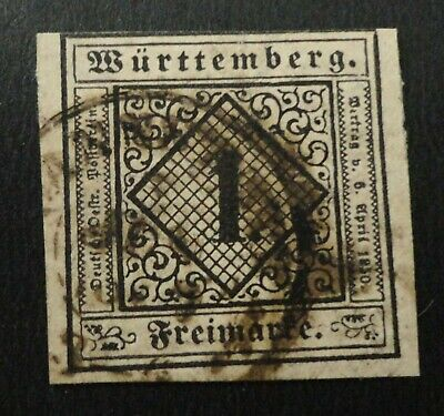 WURTTEMBERG SCOTT #1 USED GERMANY STATES 1Kr BLACK ON BUFF  STAMP