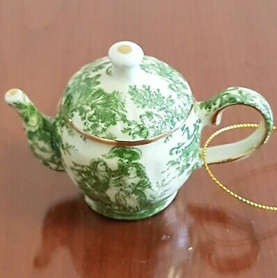 Small Green French Toile Teapot Christmas Tree Ornament Gold Trim