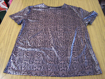 Cameo Rose black and silver leopard print top size 10