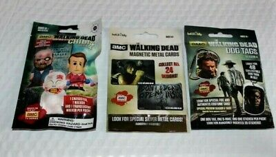 2015 '16 THE WALKING DEAD Sealed Bag 3 LOT Dog Tags - Chibis - Magnetic Card
