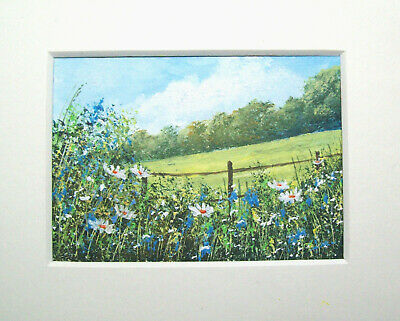 Original Wildflowers 19# Signed Landscape Miniature Aceo Painting