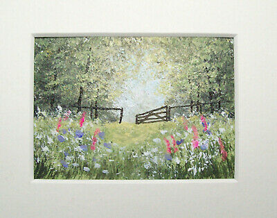 Original Through The Open Gate Signed Landscape Miniature Aceo Painting