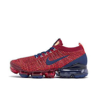 Men's Nike Air VaporMax Flyknit 3 Running Shoes Noble Red/Blue Void/Light Armory