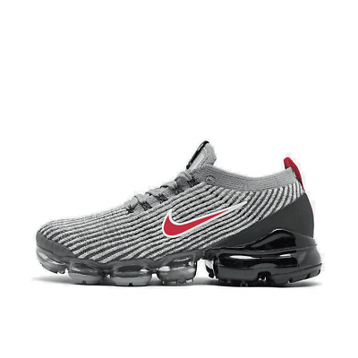 Men's Nike Air VaporMax Flyknit 3 Running Shoes Particle Grey/University Red/Bla
