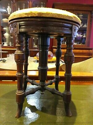 ANTIQUE piano revolving stool VICTORIAN turning adjustable ROSEWOOD , CH. WADMAN