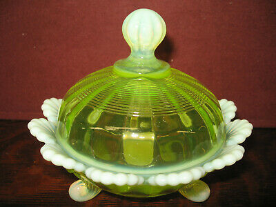 Vaseline Opalescent glass fluted scrolls Covered Candy dish butter uranium bowl