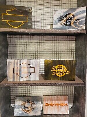 (6) Harley Davidson Wooden Wall Art Signs Home Decor Motorcycle Wood Signs
