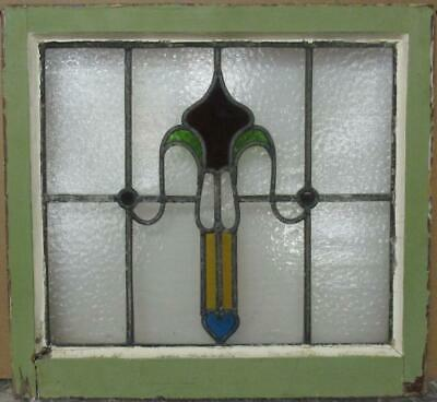 "OLD ENGLISH LEADED STAINED GLASS WINDOW Nice Abstract with Heart 20.25"" x 18.75"""