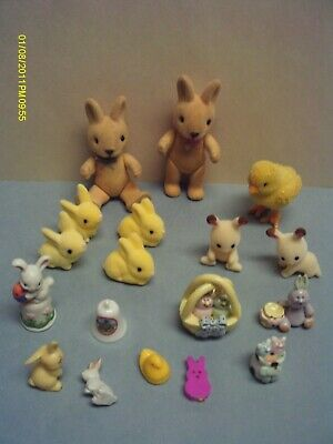 Miniature Easter Lot Bunnies Chicks Thimble Bell Flocked Ceramic Plastic Figures
