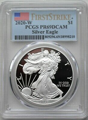 2020 W PCGS PR69 DCAM Silver Eagle Proof First Strike Label-OMP and COA included
