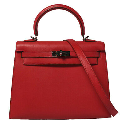 Auth Used HERMES KELLY 25 Veau Gulliver Rouge Vif 2000 Squared D stamp 348283