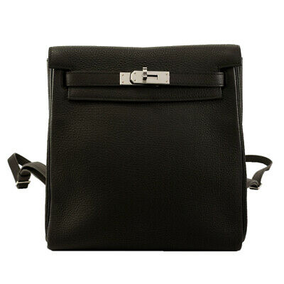 Auth Unworn HERMES KELLY Ado 2 backpack Taurillon Clemence Black C stamp 347963