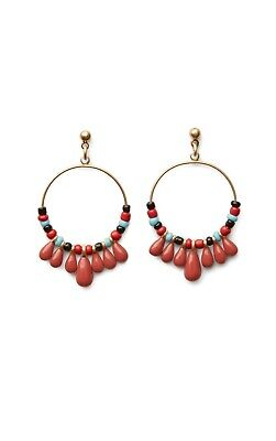 New CAbi La Bohème Earrings Color: Terra Cotta (Gold hoop with beading) #2176
