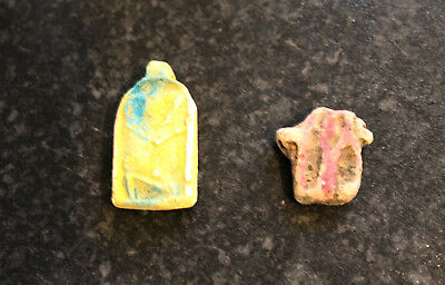 Egyptian Amulets - Faience - Glazed Terracotta - x2 Great for Jewellery