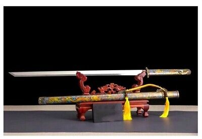Beautiful Two Handed Straight Jian Chinese Sword T10 Carbon Steel Clay Tempered