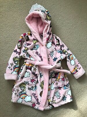 Girls Pink Disney Frozen Dressing Gown Elsa Anna Fluffy With Hood Crown  Age 2-3