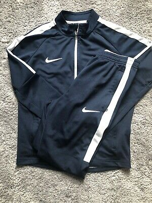 Boys Navy & White Nike Dry Fit Tracksuit M (10-12)