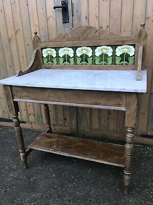 Antique Vintage Victorian Wash Stand With Marble Top and Tiled Splash Back