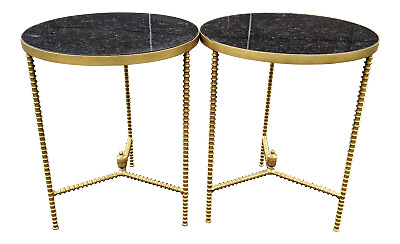 PAIR Mid-Century MODERN Style Black MARBLE TOP & BRONZE GUERIDON Side TABLES