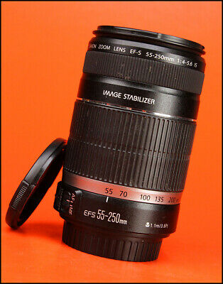 Canon EF-S 55-250mm F4-5.6 Image Stabilization AF Zoom Lens with Both Caps