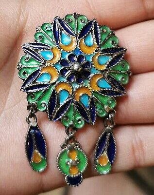 Antique Silver Brooch with Enamel Cloisonne Russian or Maroccan