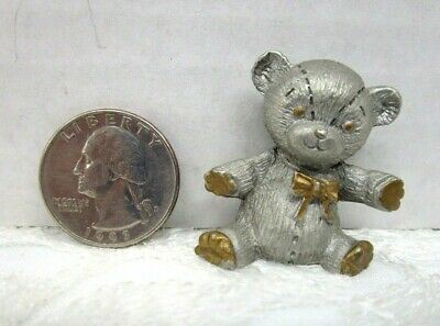 Spoontiques Pewter Miniature Teddy Bear Figurine Vintage 1983 Gold Accents