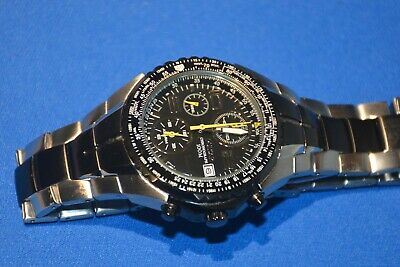 Pulsar Chronograph Men's Silver & Black Tone Stainless Steel Watch