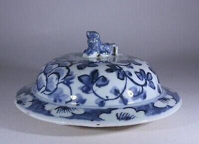 Antique Chinese Porcelain Large Blue And White Vase Cover