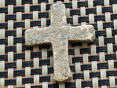 Ancient Late Roma Or Byzantine Medieval Lead Cross Circa 300-600 Ad. Rare