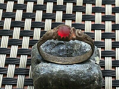 Ancient Late Roma Or Byzantine Bronze Ring With Red Stone Circa 400-800 Ad.