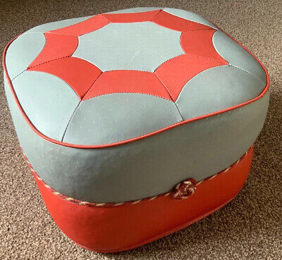 VINTAGE 70s SHERBORNE FOOT STOOL POUFFE IN RED AND GREY GEOMETRIC, 2 AVAILABLE