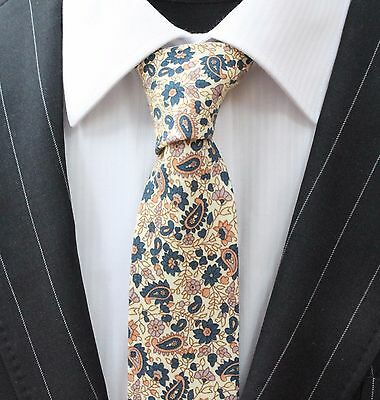 Tie Neck tie Slim Off White with Floral Quality Cotton T677