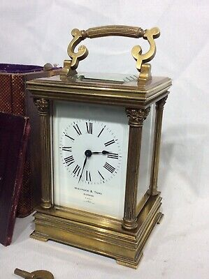 Large Ornate French Four Glass Carriage Clock Carry Case Whytock & Son Dundee