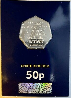 2020 Brexit 50p CERTIFIED Brilliant Uncirculted BUNC Coin Encapsulated UK