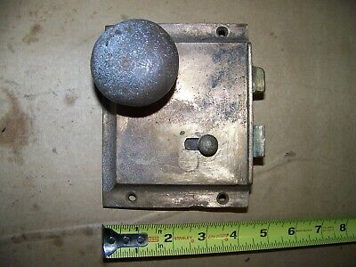 Antique solid brass adlake door  lock   no key large size very old