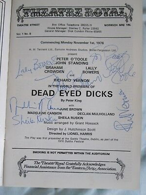 Peter O'Toole John Standing Richard Vernon Hand Signed Autograph Programme