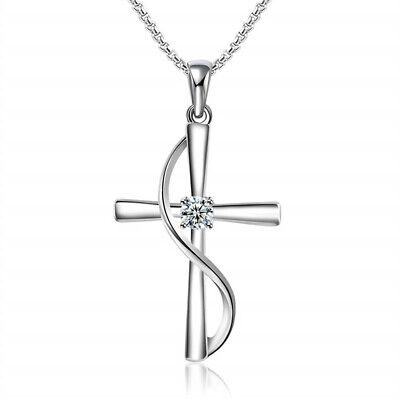 Exquisite Silver cross white Rhinestone Pendant Necklace engagement Jewelry