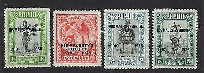 Papua Papouasie n° 101/04* MH* His Majesty's Jubilee Georges V surchargés 1935