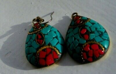 Egyptian Revival Scarab Beetles Earrings Turquoise And Red Coral Big Dangle