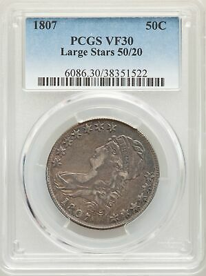 1807 US Silver 50C Capped Bust Half Dollar - Large Stars 50/20 - PCGS VF30