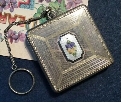 Antique FMCO ornate silver square African violet guilloche enamel Powder Compact