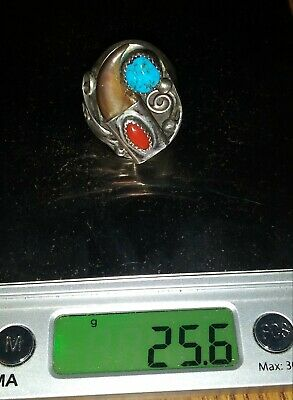 Antique 1920s Navajo Silver Turquoise Red Coral Claw Ring 25.6 Grams Large Auth.