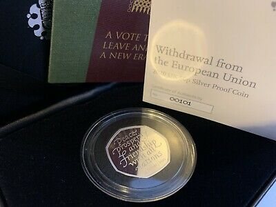 LOW COA! 2020 BREXIT Withdrawal from the European Union UK 50p Silver Proof Coin